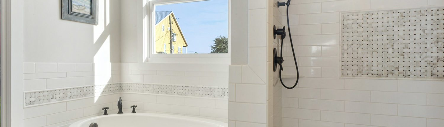 Beautiful Coastal Home Construction in Mississippi Garden Tub and Shower Design